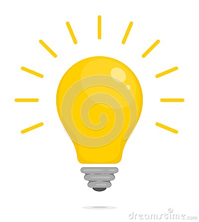 Yellow glowing light bulb. Symbol of energy, solution, thinking and idea. Flat style icon for web and mobile app. Vector Vector Illustration