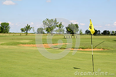 Yellow golf flag