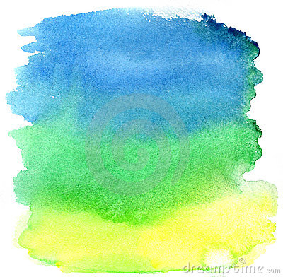Yellow, green and blue watercolor brush strokes