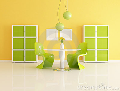 yellow and green dining  room