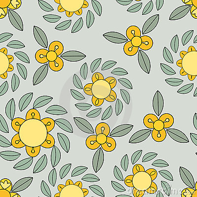 Yellow and green flower pattern