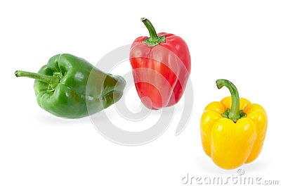 Yellow, green and red peppers
