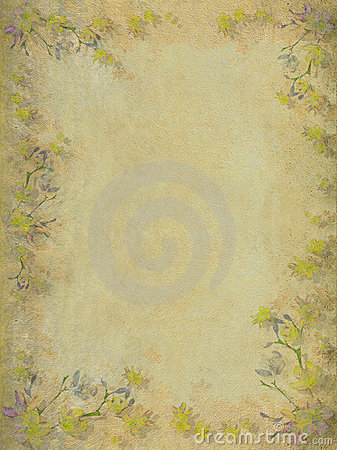 Yellow and grey faded blossom border background