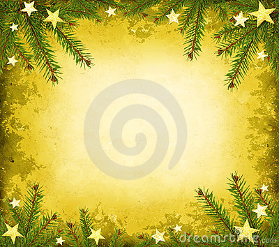 Yellow grunge border with spruce and stars
