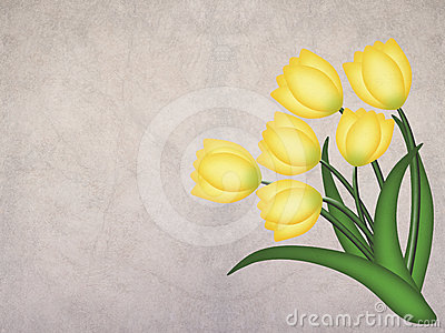 Yellow grunge tulip on textured background