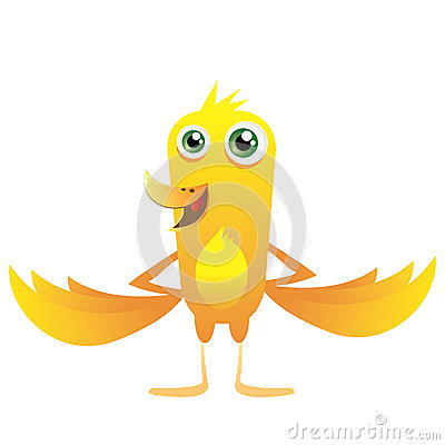 Yellow happy bird