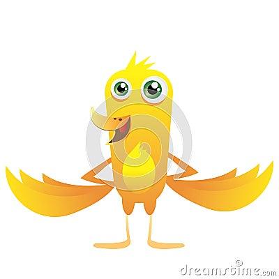 Yellow happy bird