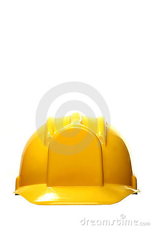 Yellow hard hat on white