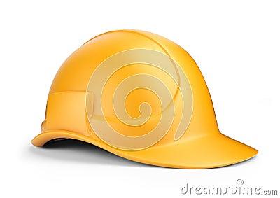 Yellow hardhat 3D. Construction tool.