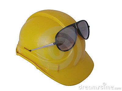 Yellow Hat with safety glasses