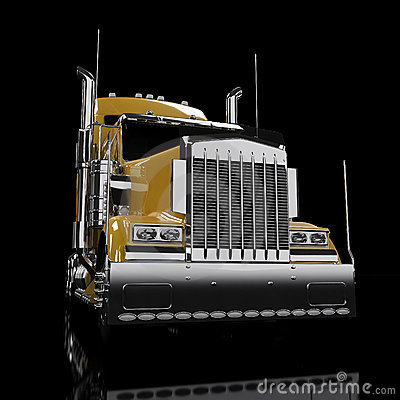 Yellow heavy truck