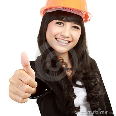 Yellow helmet with thumb up