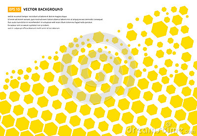 Yellow hexagon pattern concept design abstract technology background with copy space, vector Vector Illustration