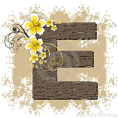 Yellow hibiscus alphabet E