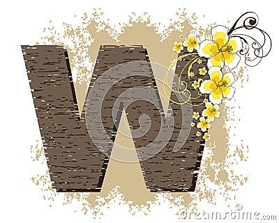 Yellow hibiscus alphabet W