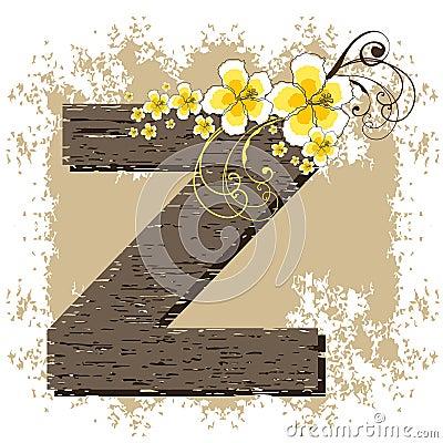 Yellow hibiscus alphabet Z