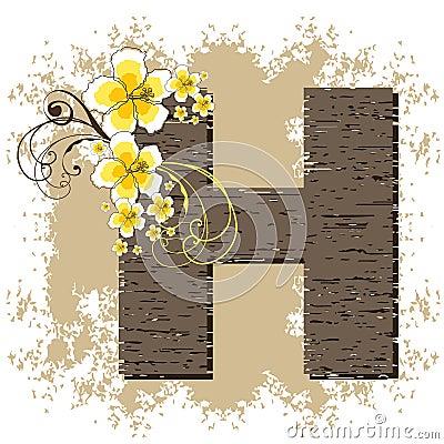 Yellow hibiscus vintage alphabet H