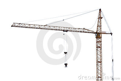 Yellow hoisting crane on white