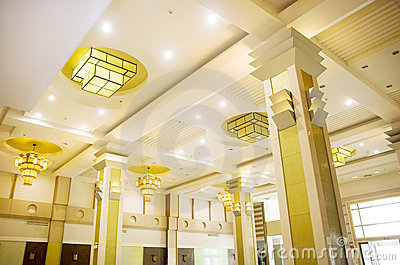 Yellow Hotel lights on the ceiling