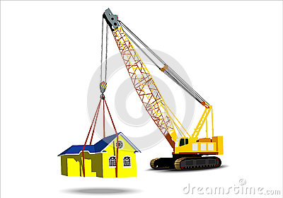 Yellow house with a crane
