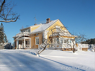 Yellow House in Winter