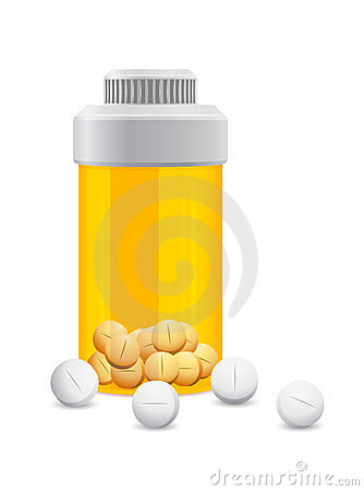 Yellow jar with the white pills in