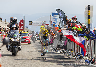 Yellow Jersey on Mont Ventoux Editorial Stock Image