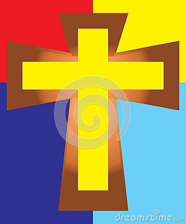 Free Yellow Jesus Cross On Colorful Background Royalty Free Stock Images - 42067529