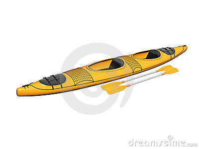 Yellow Kayak With Paddles