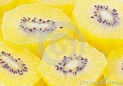 Yellow Kiwi Fruit Sliced.