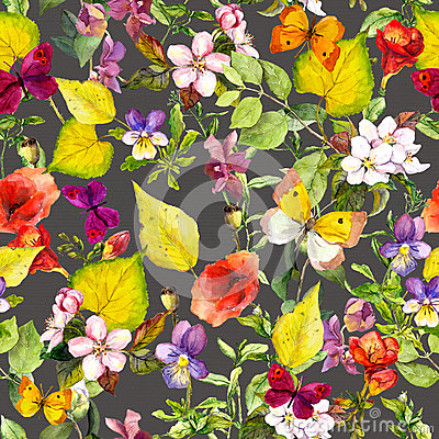Free Yellow Leaves, Flowers, Butterflies. Autumn Repeating Floral Background. Watercolor Royalty Free Stock Images - 75632739
