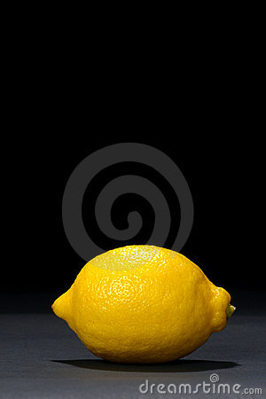 Yellow Lemon Fruit on Deep Black