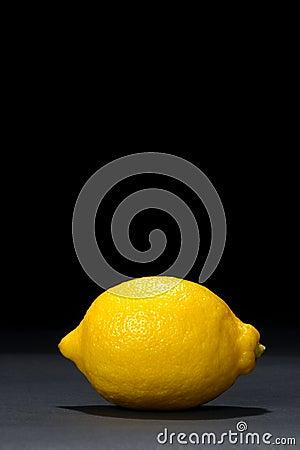 Yellow Lemon Fruit on Deep Black