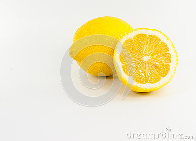 Yellow lemon on white background
