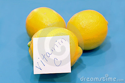Yellow lemons, vitamin C sticker