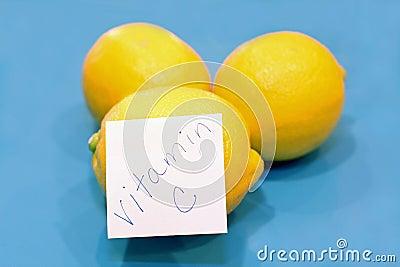 Yellow lemons, vitamin C sticker