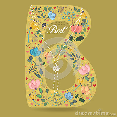 Yellow Letter B with Floral Decor and Necklace Vector Illustration