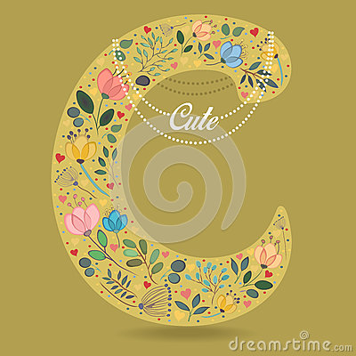 Yellow Letter C with Floral Decor and Necklace Vector Illustration