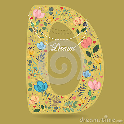 Yellow Letter D with Floral Decor and Necklace Vector Illustration
