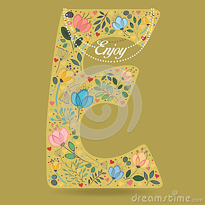 Yellow Letter E with Floral Decor and Necklace Vector Illustration