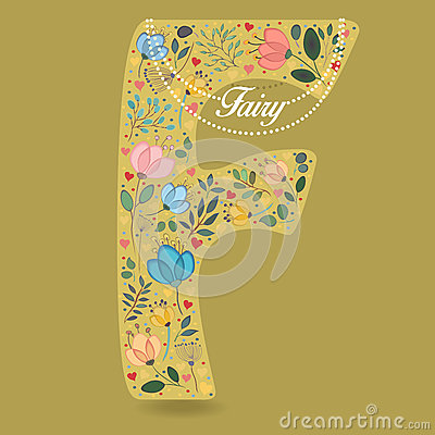 Yellow Letter F with Floral Decor and Necklace Vector Illustration