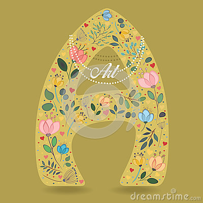 Yellow Letter A with Floral Decor and Necklace Vector Illustration