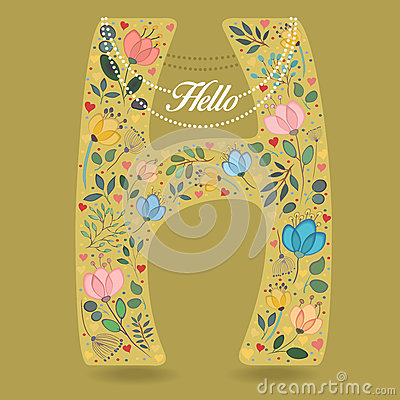 Yellow Letter H with Floral Decor and Necklace Vector Illustration