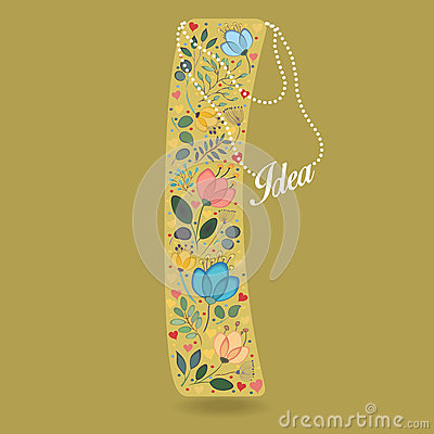 Yellow Letter I with Floral Decor and Necklace Vector Illustration