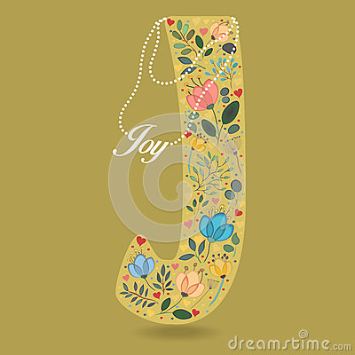 Yellow Letter J with Floral Decor and Necklace Vector Illustration