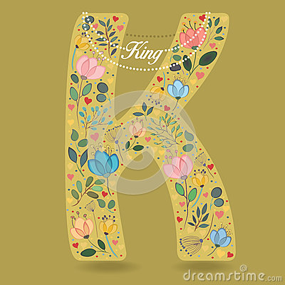 Yellow Letter K with Floral Decor and Necklace Vector Illustration