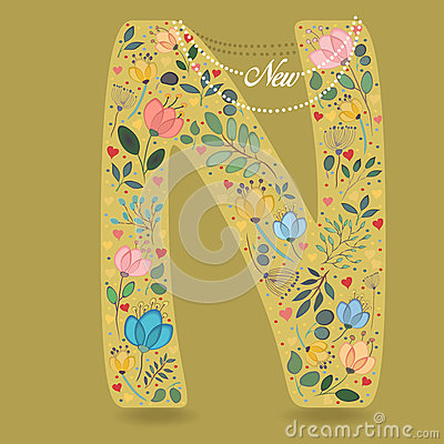 Yellow Letter N with Floral Decor and Necklace Vector Illustration