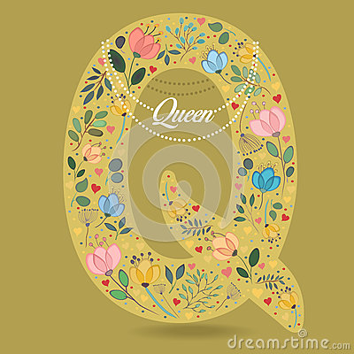 Yellow Letter Q with Floral Decor and Necklace Vector Illustration