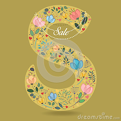Yellow Letter S with Floral Decor and Necklace Vector Illustration