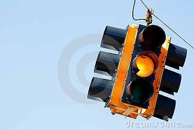 Yellow light traffic signal with copy space